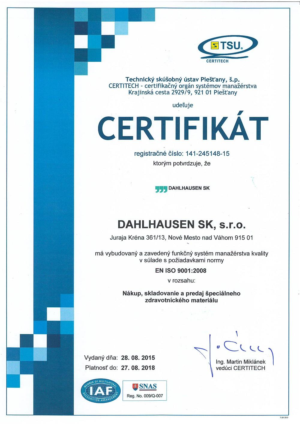 Certifikát SK