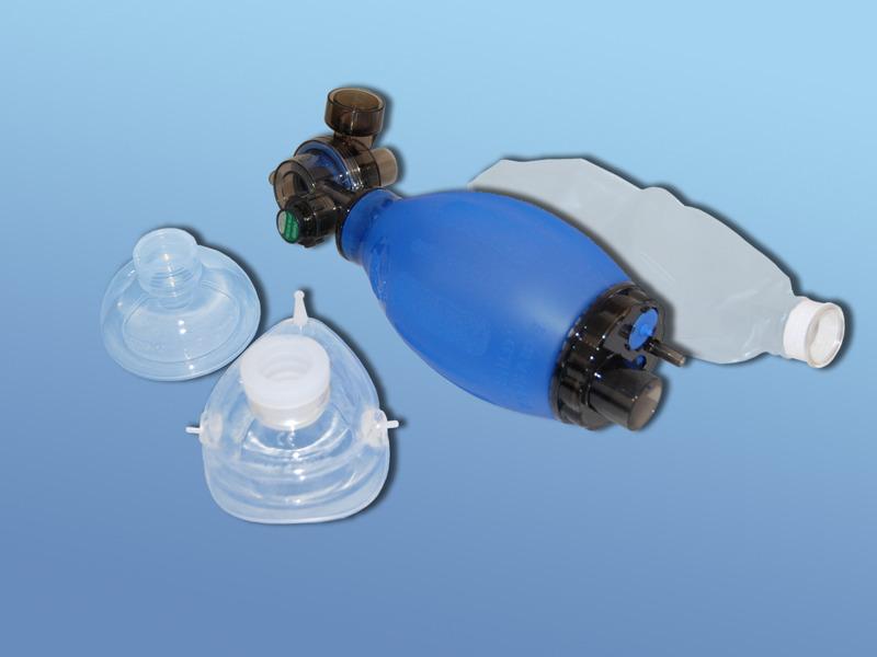 Ručný silikónový resuscitačný vak DAHLHAUSEN, 51.500.00.302, Súprava pre deti vrátane masiek č. 2 a 3 s rezervoárom kyslíka 600 ml
