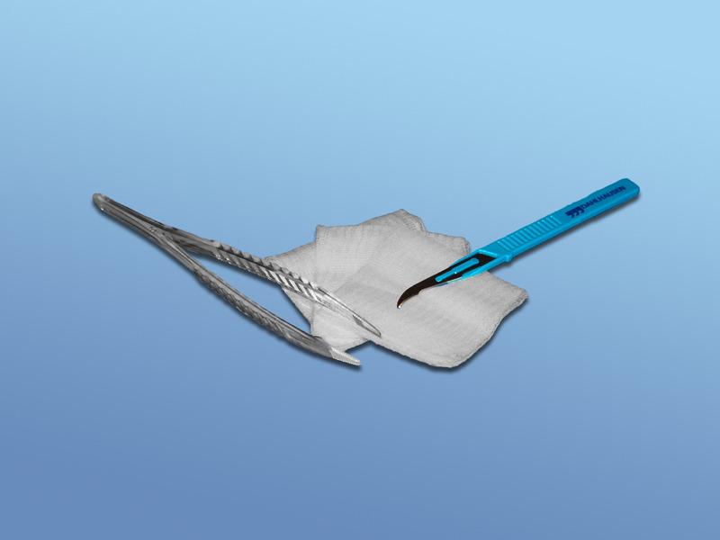 Súprava na odstraňovanie stehov, 93.800.00.000, pinzeta,nôž na odstraňovanie stehov-dlhý, 2 ks kompresy-sterilné